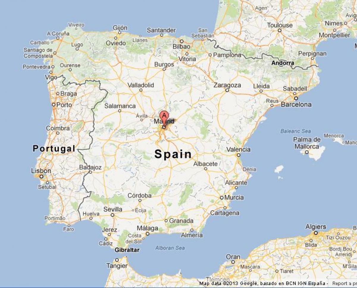 Madrid Ispanii Karta Ispanii Pokazyvaet Madrid Ispaniya
